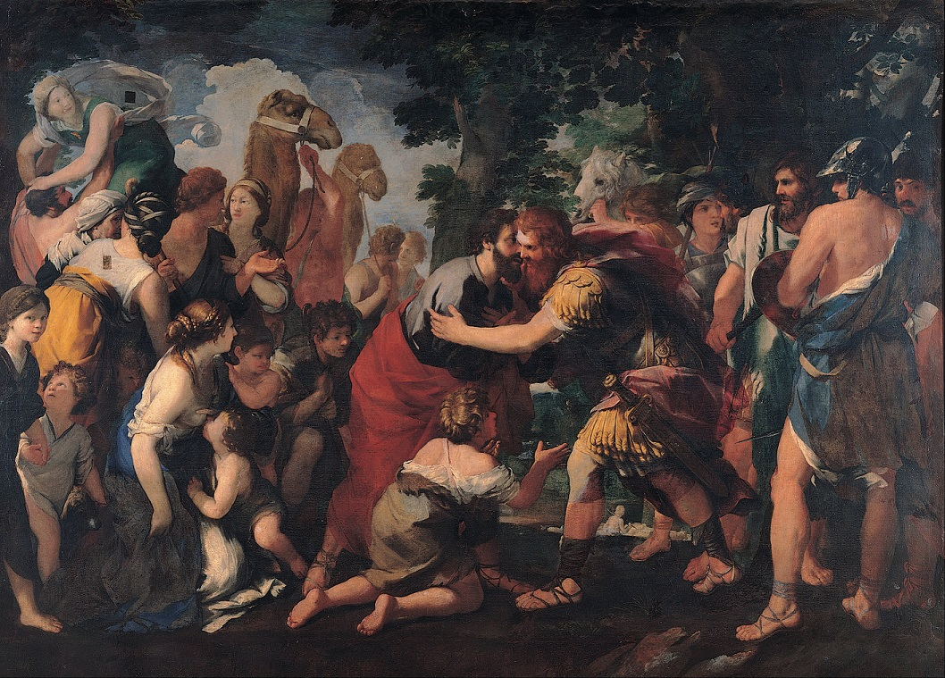 Meeting between Esau and Jacob, by Raffaellino Bottalla
